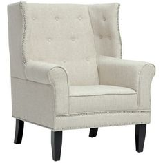 Kyleigh Beige Linen Arm Chair - #3P857 | LampsPlus.com