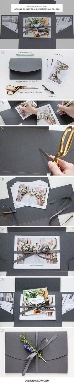 Adding Prints to a Presentation Folder / http://www.himisspuff.com/diy-wedding-invitations/18/