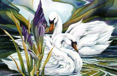"""Schwanensee"" by Maria Inhoven, Nature: Water, Animals: Water, Painting Cross Paintings, Animal Paintings, Fantasy Kunst, Fantasy Art, Plaid Paint By Number, Swans, Love Painting, Bird Art, Beautiful Birds"