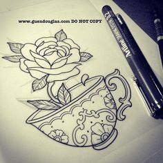 Tea Cup Tattoo - For my Grammie Future Tattoos, New Tattoos, Body Art Tattoos, Sleeve Tattoos, Tatoos, Pretty Tattoos, Beautiful Tattoos, Tattoo Sketches, Tattoo Drawings