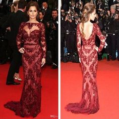 Black Lace Evening Dress 2014 Hot Sales Zuhair Murad Dresses Backless Beaded Crystal Bateau Neckline Sweep Train Red Long Sleeve Lace Evening Dresses Fashion E100 Shop Evening Dresses From Kiss_dress, $114.14| Dhgate.Com