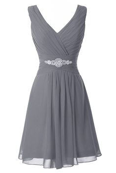 Manfei Women's V-Neck Chiffon Short Bridesmaid Dress Party Dress Gray Size 8 Women, Men and Kids Outfit Ideas on our website at 7ootd.com #ootd #7ootd