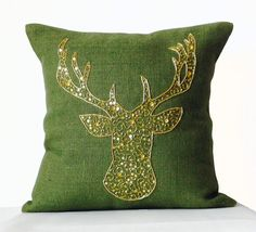 Deer Pillow Cover -Animal pillow stag embroidered in gold sequin -Burlap pillows -Green Moose pillow -Gold pillows -Christmas pillows Gold Pillows, Burlap Pillows, Throw Pillows, Accent Pillows, Rustic Decorative Pillows, Decorative Pillow Cases, Deer Pillow, Living Room Decor Pillows, Christmas Pillow