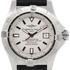 Pre-owned Breitling a17330 Aeromarine Avenger Watch ($3,295) ❤ liked on Polyvore featuring jewelry, watches, bezel watches, stainless steel watches, white dial watches, stainless steel jewelry and preowned jewelry