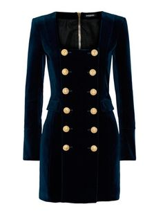 Balmail. Dark blue Velvet dress. Dress Trends Fall 2016. Vestido azul oscuro de terciopelo.Tendencias Otoño 2016.  Dunkleblaues Samtkleid.Trends Herbst 2016