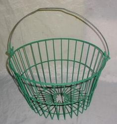 Antique Primitive Wire Farm Egg Or Vegetable Basket