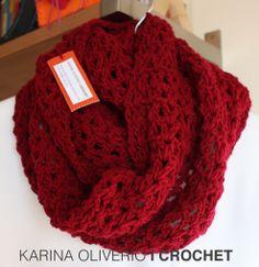 Crochet infinitive scarf pattern, bufanda infinita a crochet con patrón.