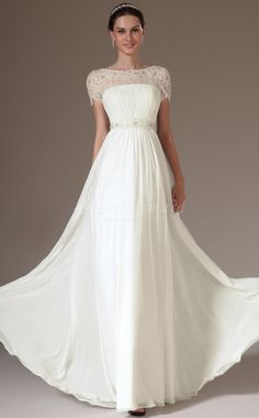 white-long-a-line-chiffon-and-lace-bridesmaid-dress-with-short-sleeves