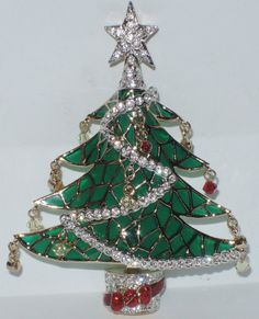 Nordstrom Crystal Collection Plique a Jour Christmas Tree Pin ~ RARE