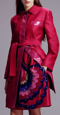 Alberta Ferretti Resort / Pre-Spring 2015: Hot pink coat with snake details & embroidered skirt.