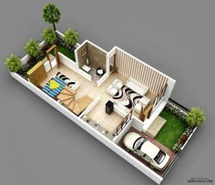 مخطط 3d فيلا جدا صغيرة المساحه 2 غرفة نوم 1 ماستر