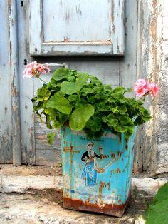 "greek flower pot, ""I love greece : fine art print photography"