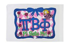 """Standard Pillowcase - Pi Beta Phi by Ear Mitts; EarMitts; Bunnies and Bows. $19.95. Durable silk screen printing. 50/50 Cotton/Poly Blend; 180 Thread Count. Great gift for alumni, students, and kids of all ages!. Available personalized. Standard 32""""x21"""" size; Fits Standard-Size Pillow. These quality pillowcases are the perfect gift for proud alumni, students, or their children or siblings! These will be a big hit, so be sure to order enough to go around. Also available personali..."""