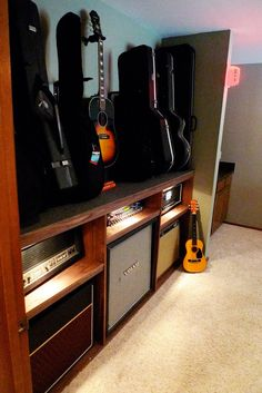 Able + Baker Design: Architectural Foundation and Guitars Guitar Storage, Guitar Display, Home Music Rooms, Music Studio Room, Basement Studio, Recording Studio Design, Guitar Room, Audio Room, Basement Remodeling