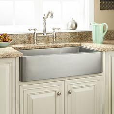Buy the Signature Hardware 285639 Stainless Steel Direct. Shop for the Signature Hardware 285639 Stainless Steel Fournier Single Basin Stainless Steel Farmhouse Sink with Curved Apron and save. New Kitchen Cabinets, Kitchen Sink Faucets, Kitchen Fixtures, Kitchen Hardware, Cupboards, Kitchen Island, Stainless Steel Farmhouse Sink, Stainless Kitchen, Farmhouse Apron Sink