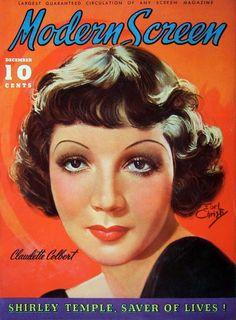 Claudette Colbert - Modern Screen, Dec, 1935.