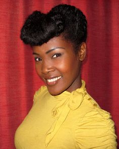 Retro Updo With Faux Bangs and Victory Rolls (on naturally curly hair) by Angelique Noire - Pinup Girl Style