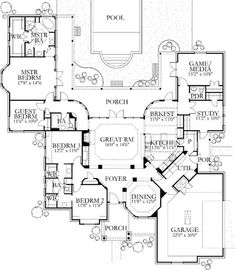 How fun. I love that the house is centered around the back courtyard (skip the pool). Switch the guest bedroom and the study and make the pwdr room a 3/4 bath.