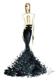 Fashion illustration - dramatic black & white gown; fashion sketch
