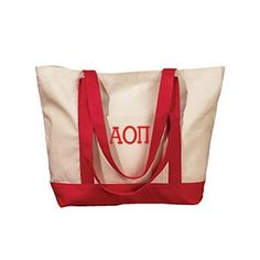 Summer or school ready, this boat tote can do it all. Fill with beach… Greek Symbol, Alpha Sigma Alpha, Delta Sorority, Monogram Tote Bags, Embroidered Bag, Chi Omega, Natural Red, Boat, Cotton Canvas