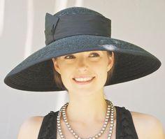 Black Wide Brim Hat. Audrey Hat. Kentucky Derby Hat. Formal Hat. Church Wedding Hat