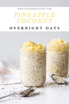 The easiest healthy breakfast - overnight oats! With a tropical twist thanks to pineapple and coconut flavours. The easiest healthy breakfast - overnight oats! With a tropical twist thanks to pineapple and coconut flavours. Manger Healthy, Pineapple Coconut, Healthy Breakfast Recipes, Healthy Breakfasts, Pineapple Recipes Healthy, Healthy Desserts, Oatmeal Recipes, Clean Eating Snacks, Eating Healthy