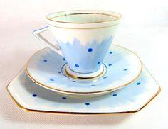 Art Deco Trio Palissy China Handpainted Pastel Blue by keepsies