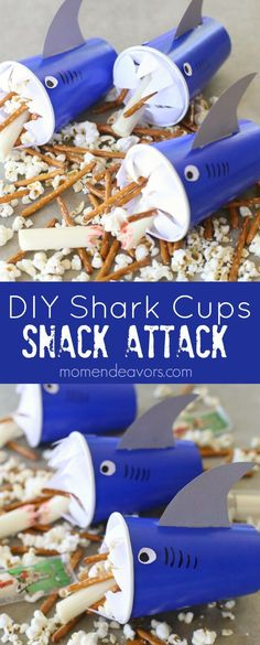 Snack Attack DIY Shark Cups - a fun shark craft & snack idea, perfect for Shark Week or a shark/ocean themed party! Sponsored by Frigo Cheese Heads. AD