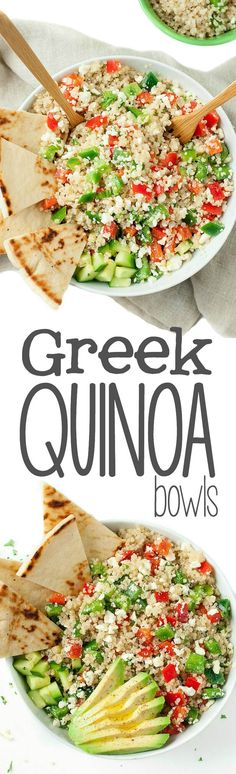 Quinoa Bowls - Healthy Vegetarian Grain Bowls - Peas and Crayons Loaded with fresh veggies and drizzled in a light homemade dressing, these tasty vegetarian Greek Quinoa Bowls make healthy eating a breeze! Healthy Cooking, Healthy Snacks, Healthy Eating, Cooking Recipes, Healthy Recipes, Delicious Recipes, Dinner Healthy, Sausage Recipes, Crockpot Recipes