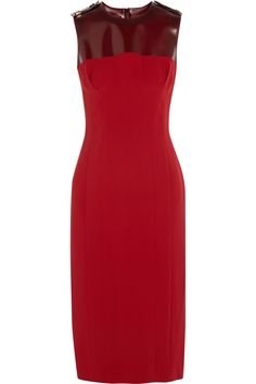 Burberry Prorsum Sleeveless silk-crepe and PVC dress