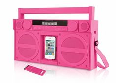 iHome iP4    Technology keeps evolving, but who says the old stuff isn't still the coolest? The iHome iP4 ($200) lets you rock your tunes like you did last century - out of a boombox! While the color is a bit more audacious than your average boombox, it's still perfectly portable and has an FM radio and an aux jack if you have something other than an iPod.