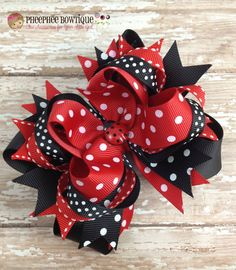 Lady Bug Hair Bow Red and Black Dots OTT Baby by PheePheeBowtique