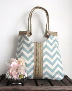 light blue chevron and burlap tote. perfect for spring/summer.