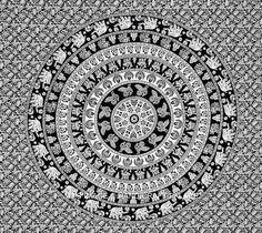 Tapestry Beach, Mandala Tapestry, Tapestry Wall Hanging, Boho Comforters, Boho Bedding, Bedspread, White Bedding, Black And White Wall Tapestry, Mandala Duvet Cover