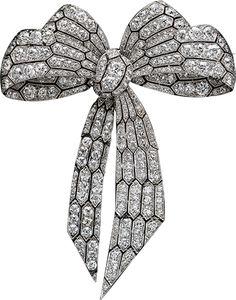 ALBION ART Antique Jewelry - Platinum, Diamond Bow Brooch, ca. 1920~1925