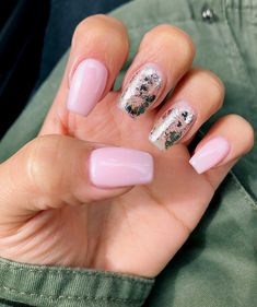 Light pink and silver foil nails