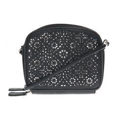 Black and Silver Metallic Crossbody Bag