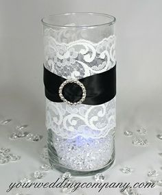 Black and White Candle Centerpieces | Black and White Wedding Lace and Ribbon Candle | Wedding Ideas