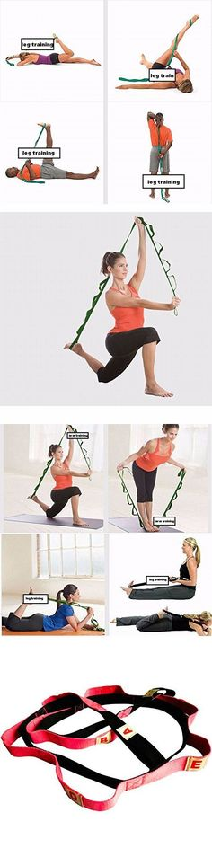Durable Yoga Strap Green Pink Polyester Stretch Out Strap Pilates Yoga Stretching Strap Yoga Bands Exercise Bands With Multiple Grip Loops
