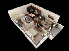 50 one 1 bedroom apartment house plans architecture Apartment Layout, 1 Bedroom Apartment, Apartment Design, Scandinavian House, One Room Houses, 1 Bedroom House Plans, Studio Floor Plans, Apartment Floor Plans, 3d Home