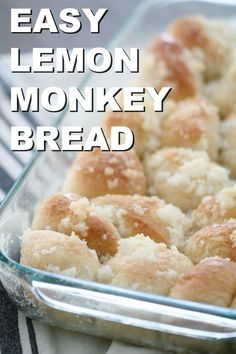 Easy Lemon Monkey Bread Recipe Six Sisters Stuff Sweet and lemony this easy lemon monkey bread is so scrumptious it will have you coming back for seconds thirds and fourths if there is any left Lemon Desserts, Lemon Recipes, Köstliche Desserts, Sweet Recipes, Dessert Recipes, Easy Bread Recipes, Cooking Recipes, Breakfast Dishes, Breakfast Recipes