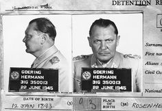 Hermann Goering, once the leader of the formidable Luftwaffe and second in command of the German Reich under Hitler, appears in a mugshot on file with the Central Registry of War Criminals and Security Suspects in Paris, France, on November 5, 1945. Goering surrendered to U.S. soldiers in Bavaria, on May 9, 1945, and was eventually taken to Nuremburg to face trial for War Crimes