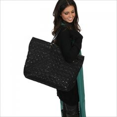 Bella Large Black Quilted Tote http://www.beetlebugs.net/shop/product_info.php?products_id=2261