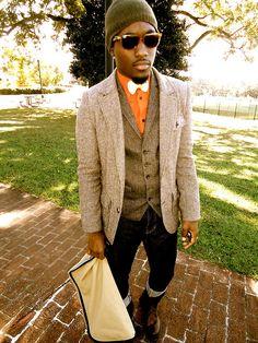 Rashad, 22, Florida  Submitted By: http://RashadBenton.Tumblr.com  Blazer: Rugby; Shirt; Express, Vest; Express, Bowtie; Custom, Beanie; Gap, Jeans; H, Boots; 21men, Shades; Rayban, Bag; American Eagle
