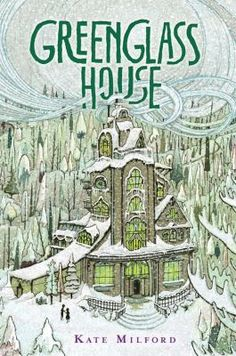 <2014 pin> Greenglass House by Kate Milford. SUMMARY:  At Greenglass House, a smuggler's inn, twelve-year-old Milo, the innkeepers' adopted son, plans to spend his winter holidays relaxing but soon guests are arriving with strange stories about the house sending Milo and Meddy, the cook's daughter, on an adventure.
