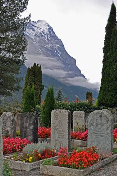 Cemetery headstones at the base of the Eiger, Grindelwald, Switzerland