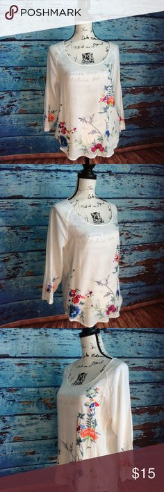 Lucky Brand white embroidered floral blouse In great condition Lucky Brand white embroidered floral blouse Lucky Brand Tops Blouses