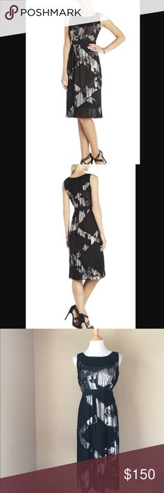 BCBG Max Azria Zariah pleated cocktail dress PLEASE NOTE: a little bit of fraying as shown in pic - honestly I would just trim that off. The skirt is lined but the bust is not. A classically feminine silhouette and bold metallic blocked detail make this dress an eye-catching addition to your cocktail portfolio. Round neck. Sleeveless. Allover pleating. Blocked metallic detail throughout. Elastic waist. Chiffon: Polyester. Chiffon: Silk, Metallic. Lining: Polyester. Dry Clean. BCBGMaxAzria…