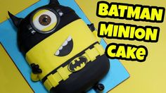 MINION BATMAN CAKE! How to make 3d Minion Batman cake tutorial