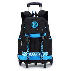 New 6 wheels Chidren s Backpack Fashion waterproof School Bag Trolley  Backpacks For Children Thick Mesh Shoulder Strap Kids Bags ed5be911c119c